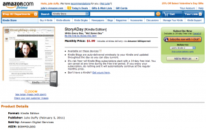 StoryADay Blog in Amazon's Storefront screenshot